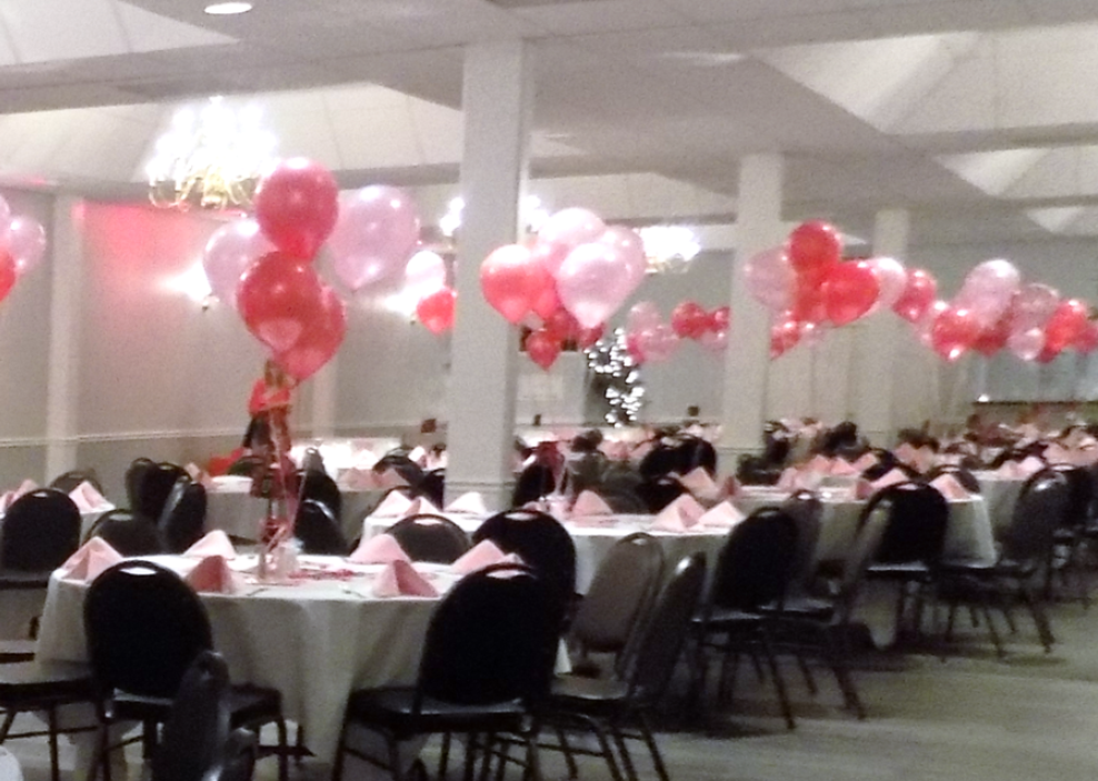 Pink Balloons at Tables